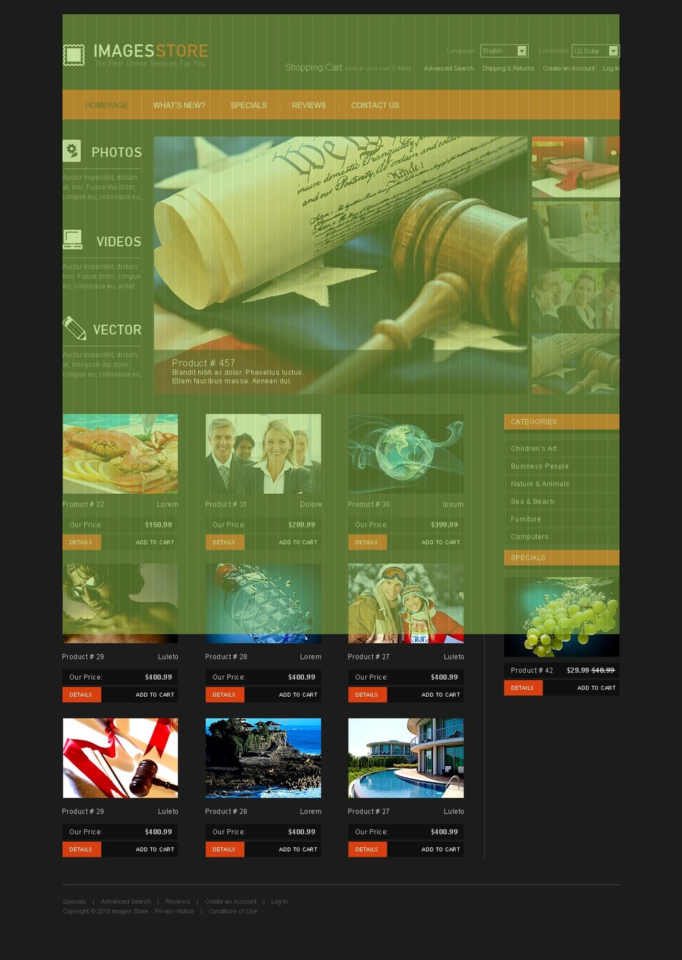 Images on Various Topics OsCommerce Template New Screenshots BIG