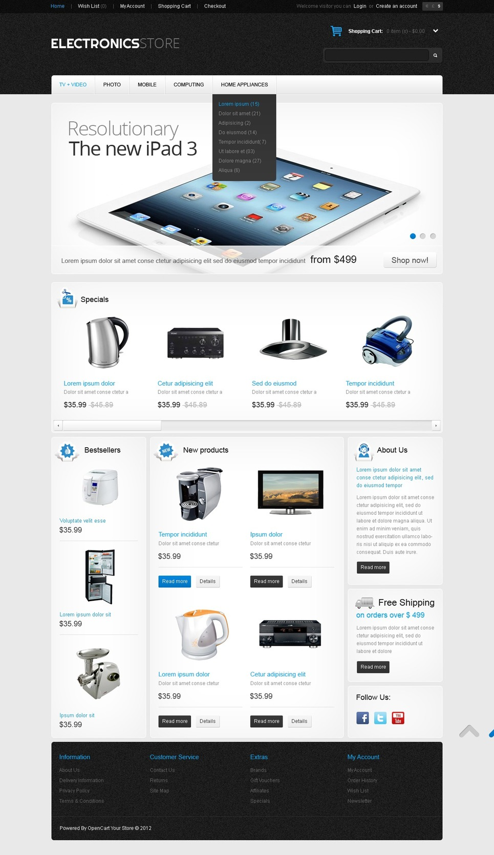 Electronics for Home and Office OpenCart Template New Screenshots BIG