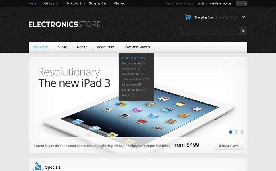 Electronics Store OpenCart Template New Screenshots BIG
