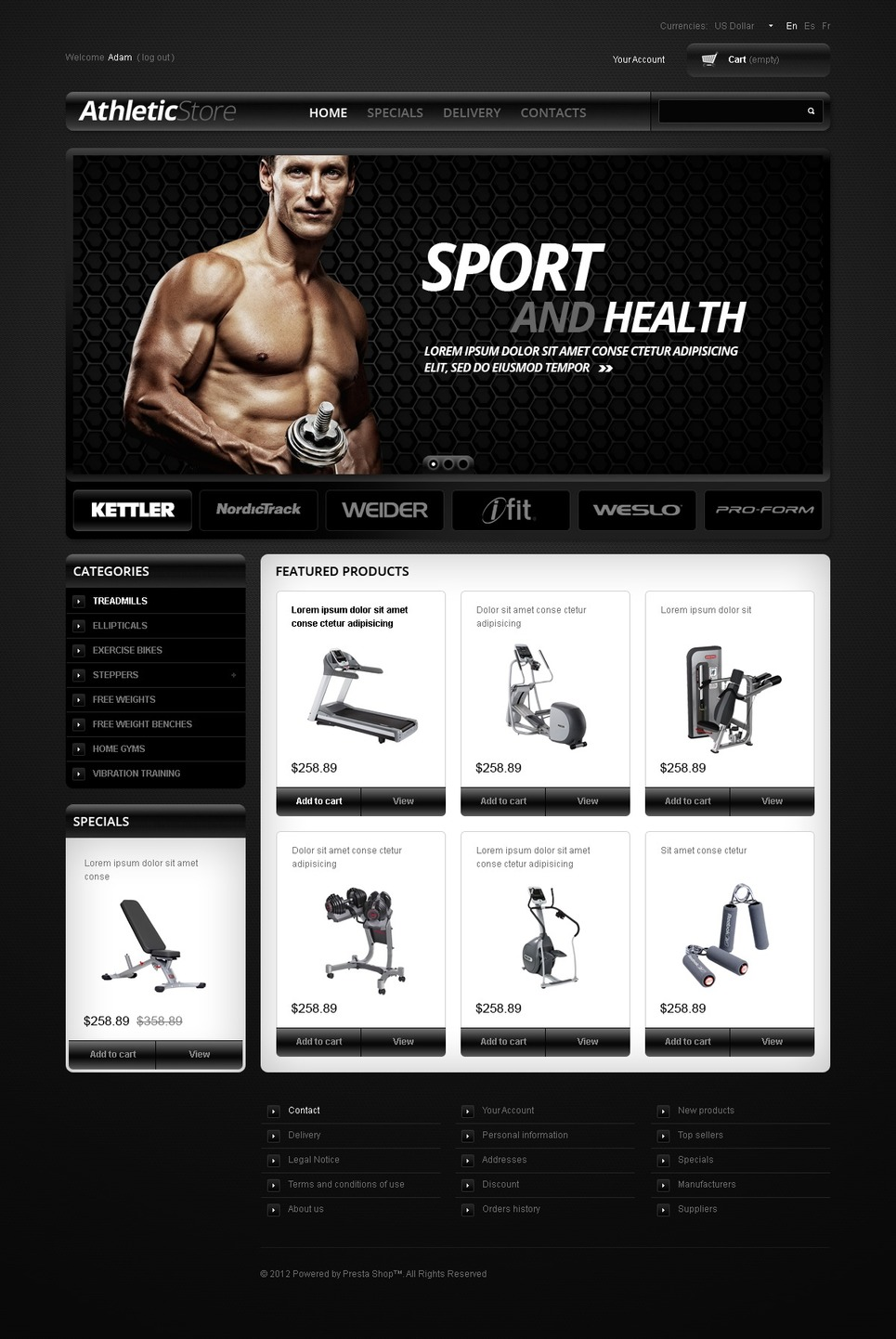 Athletic Store PrestaShop Theme New Screenshots BIG