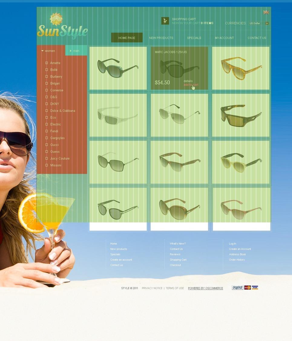 Sunglasses Store OsCommerce Template New Screenshots BIG
