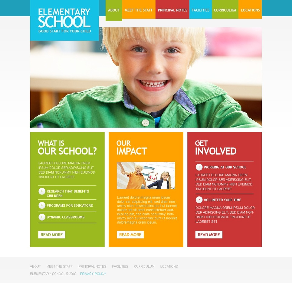Primary School Facebook Flash CMS Template New Screenshots BIG