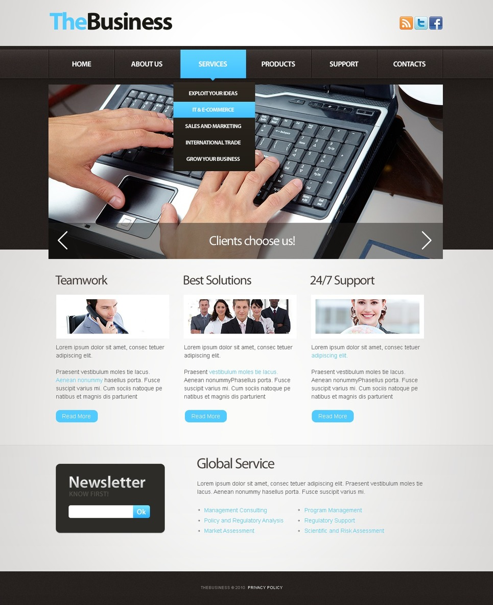Business Facebook Flash CMS Template New Screenshots BIG