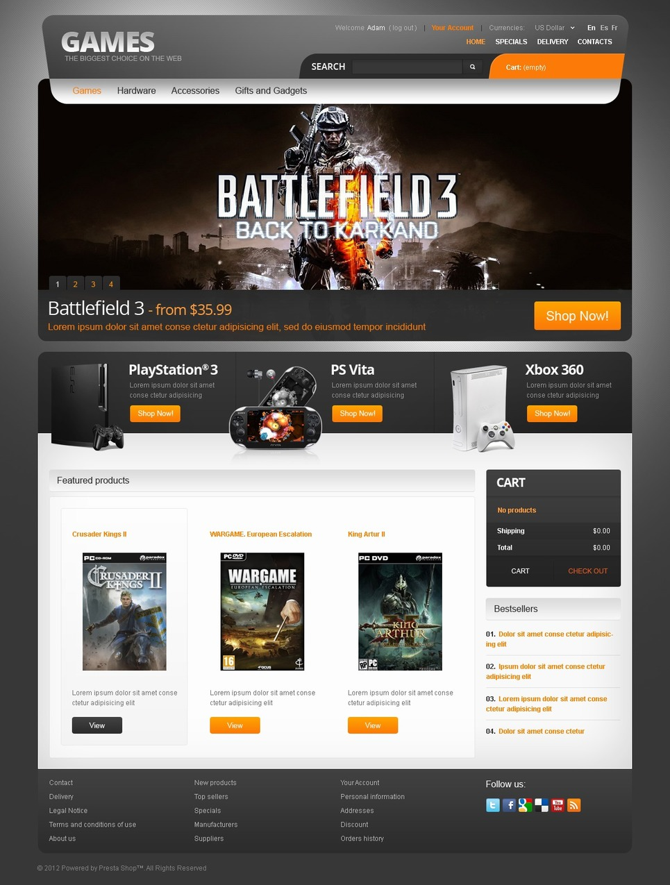 Games for PC and PS PrestaShop Theme New Screenshots BIG