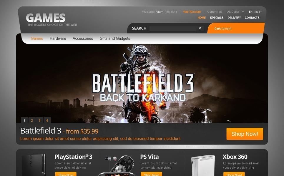 Games for PC and PS PrestaShop Theme New Screenshots BIG