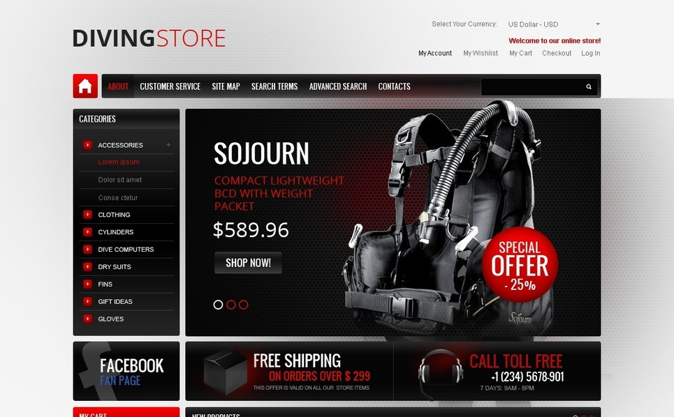 Professional Diving Gear Magento Theme New Screenshots BIG