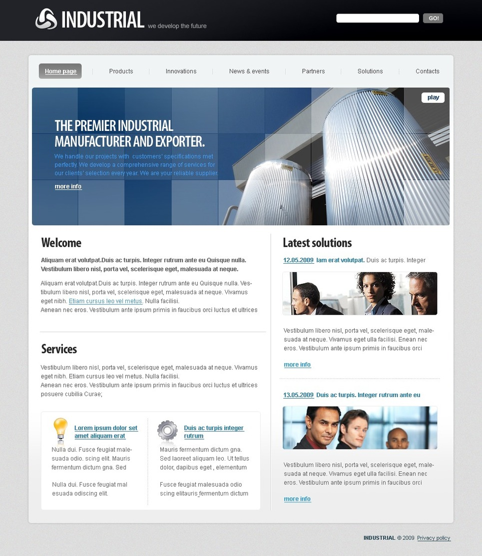 Industrial Flash CMS Template New Screenshots BIG