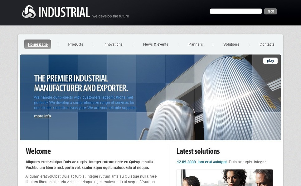 Industrial Flash CMS Template New Screenshots BIG