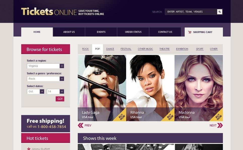 Tickets Website Flash CMS Template New Screenshots BIG