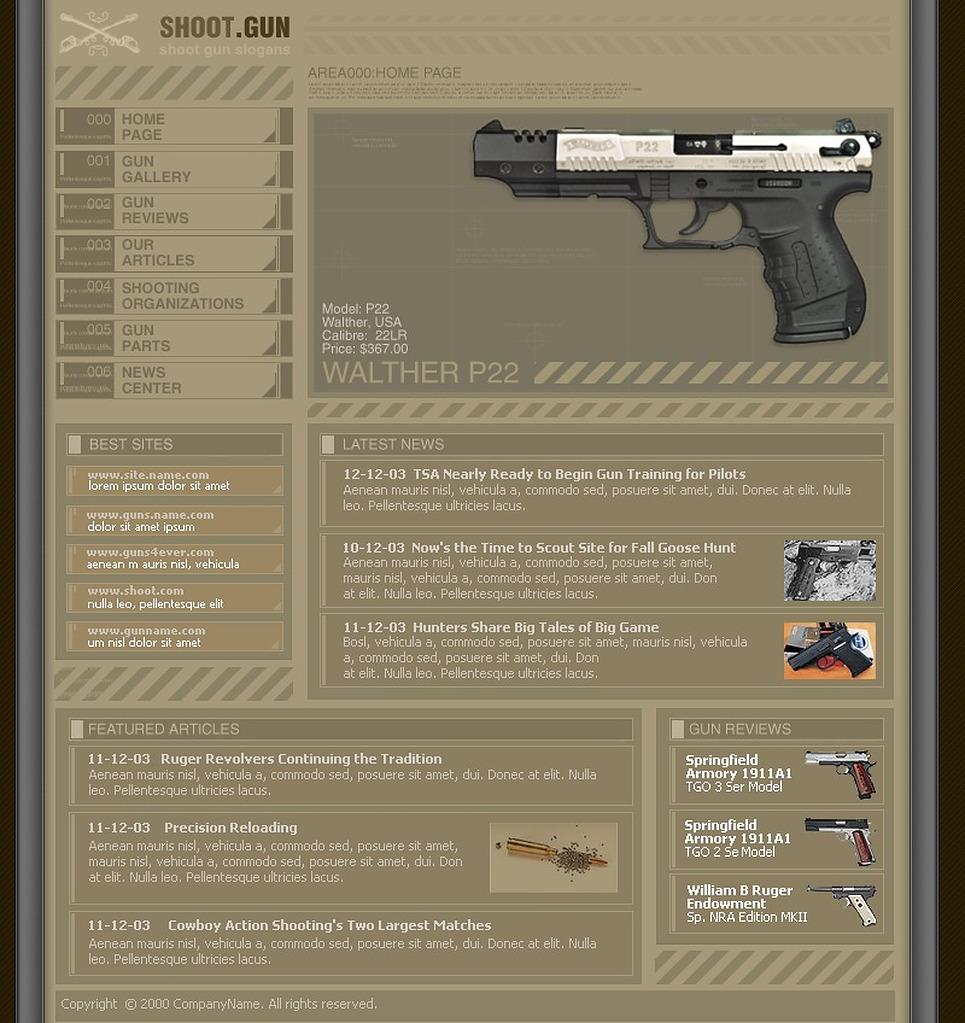 Gun Shop Website Template New Screenshots BIG