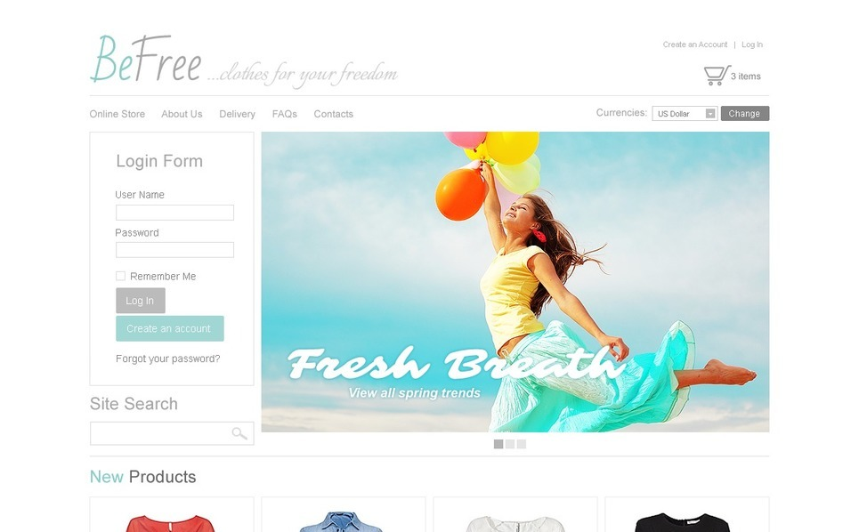 Clothes for Freedom VirtueMart Template New Screenshots BIG