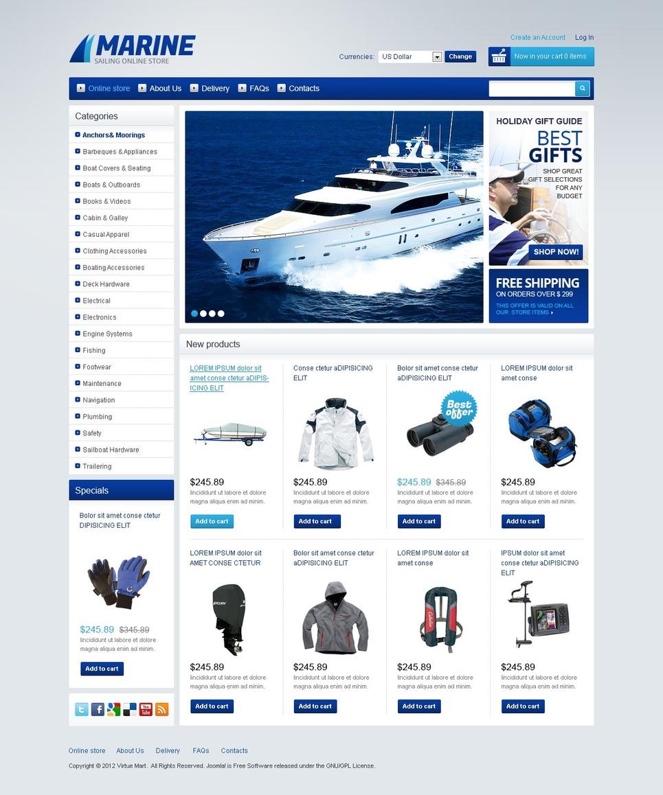 Marine Store VirtueMart Template New Screenshots BIG