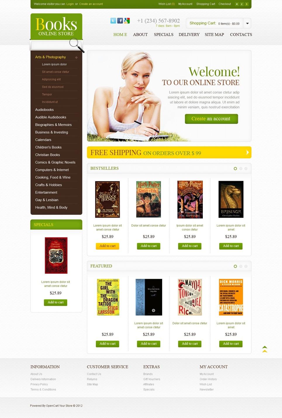 Bestsellers OpenCart Template New Screenshots BIG