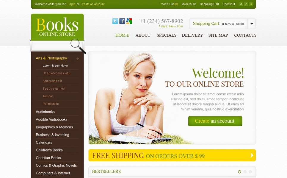 Bestsellers OpenCart Template New Screenshots BIG