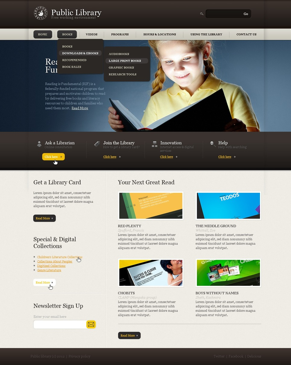 Library Website Template New Screenshots BIG