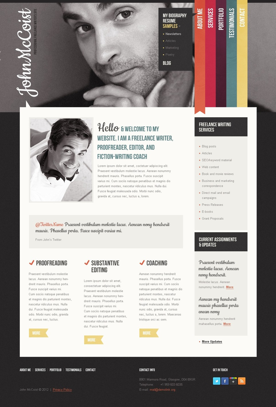 15 business templates for lancer websites personal page website template