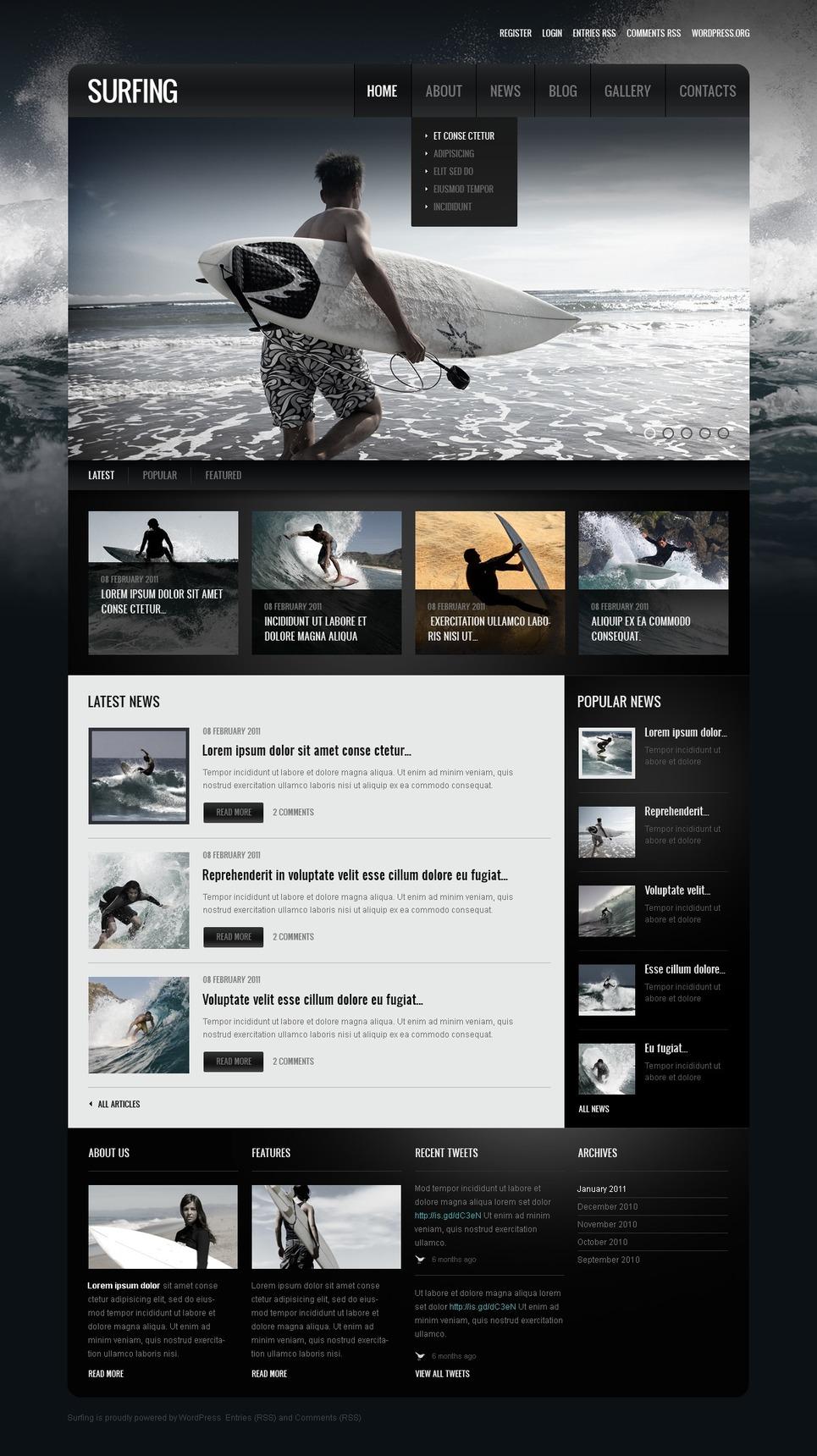 Surfing Responsive WordPress Theme New Screenshots BIG