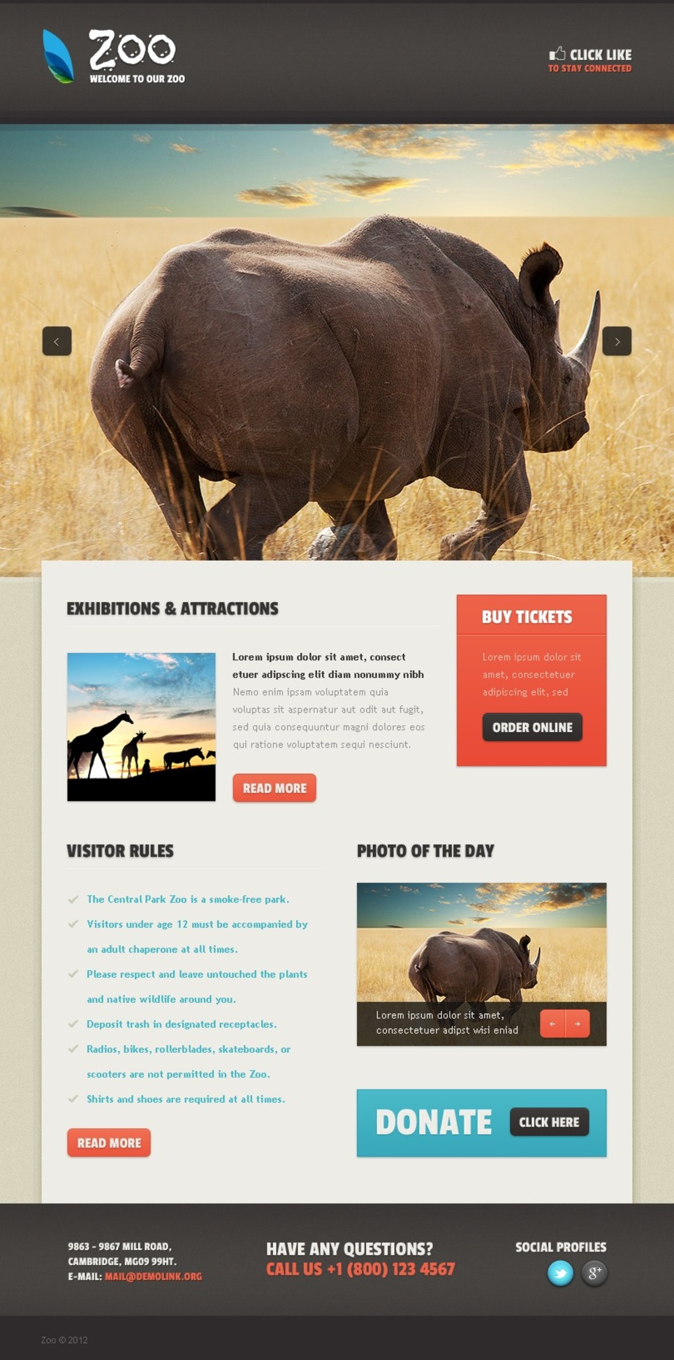 Zoo Facebook Template New Screenshots BIG