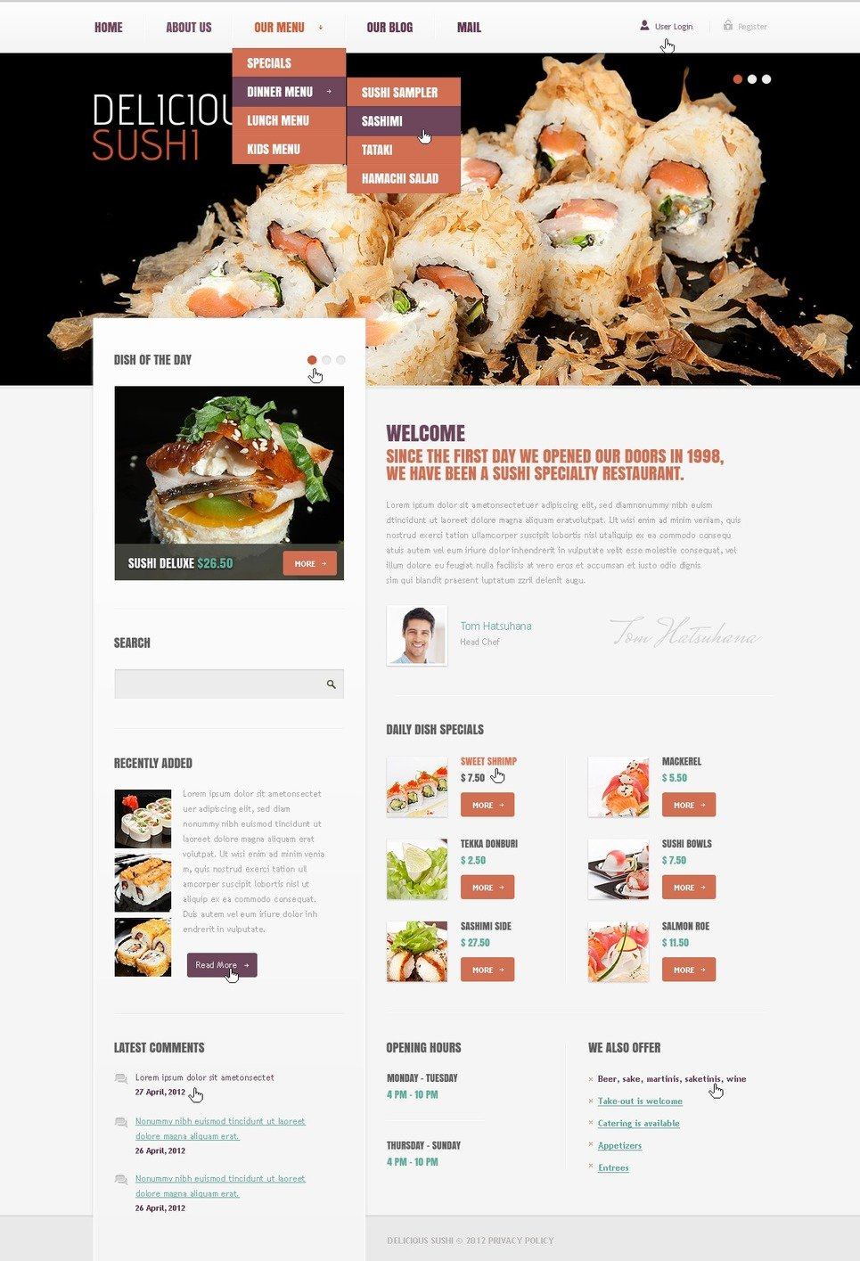 Seafood Restaurant Drupal Template New Screenshots BIG