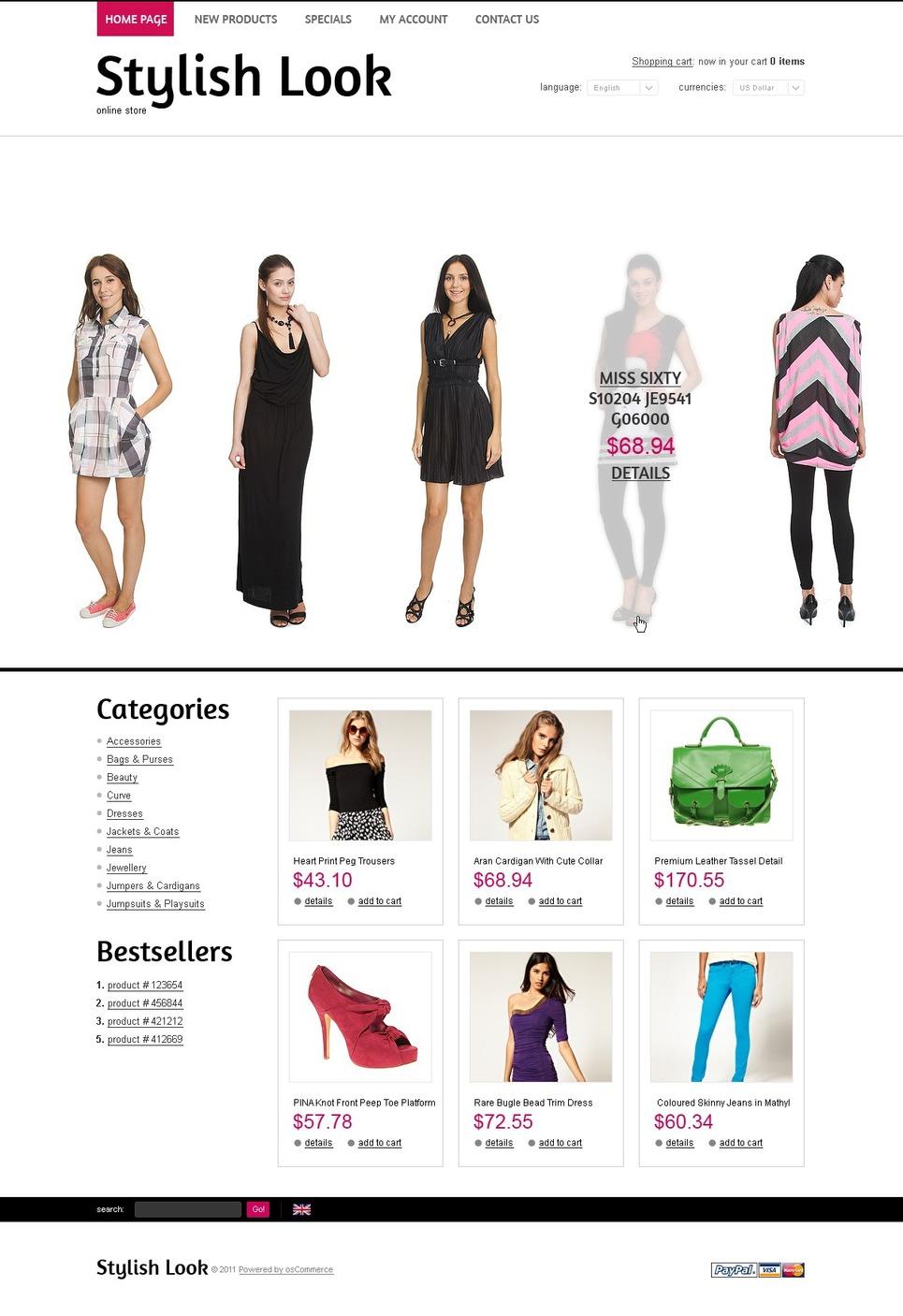 Trendy Clothes OsCommerce Template New Screenshots BIG