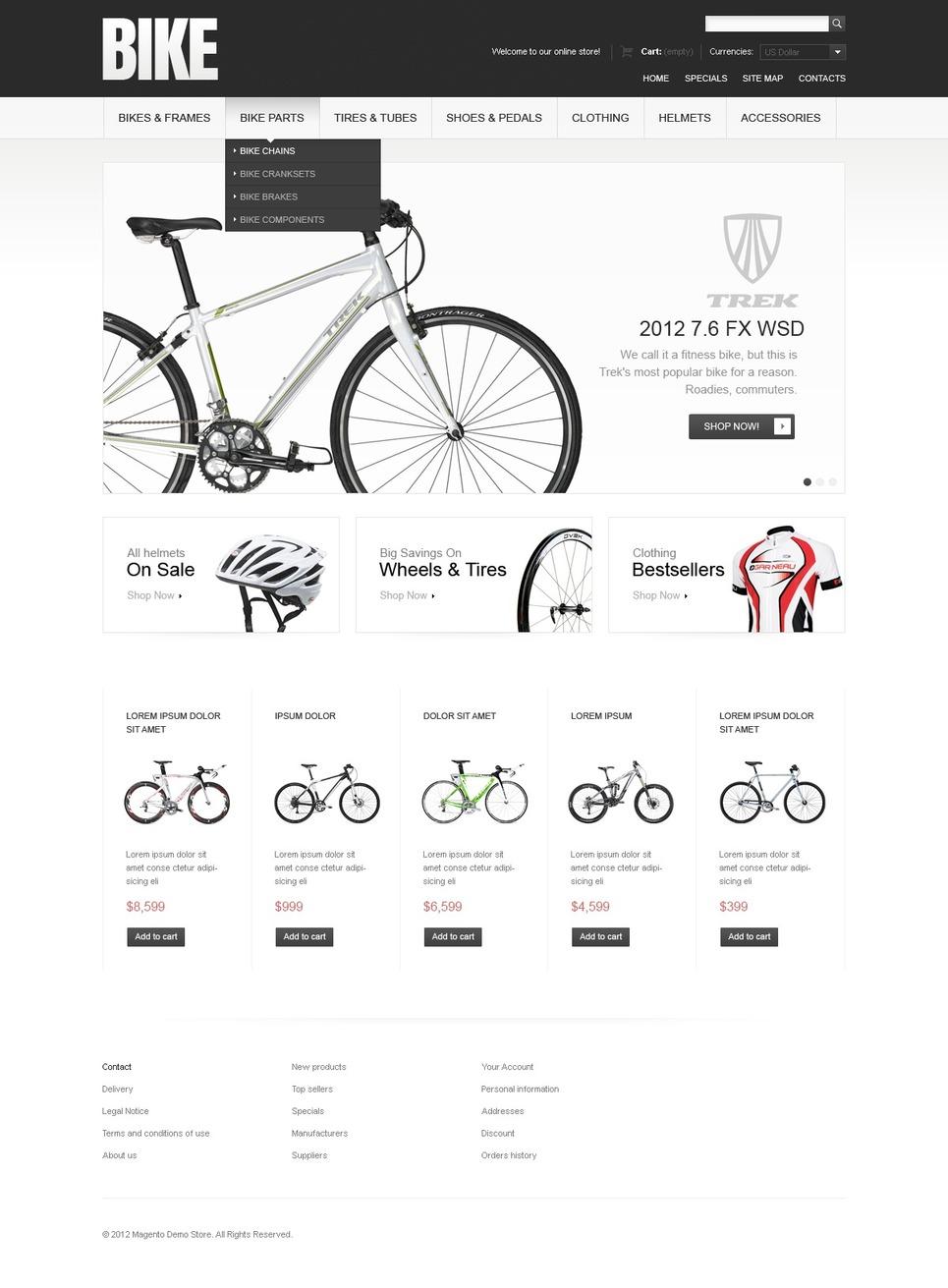 Bikes & Parts Magento Theme New Screenshots BIG