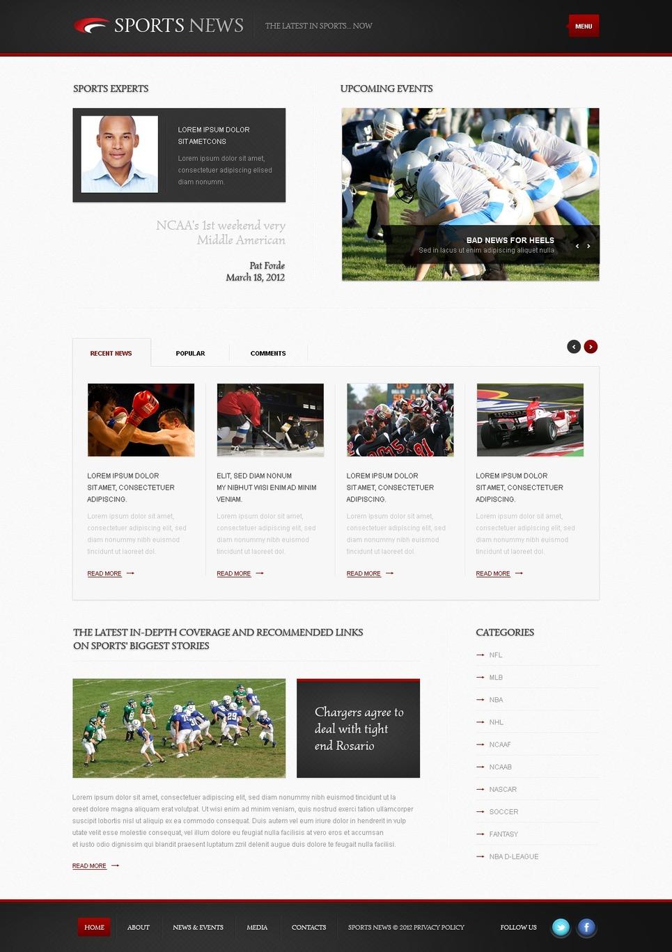Sports News WordPress Theme New Screenshots BIG