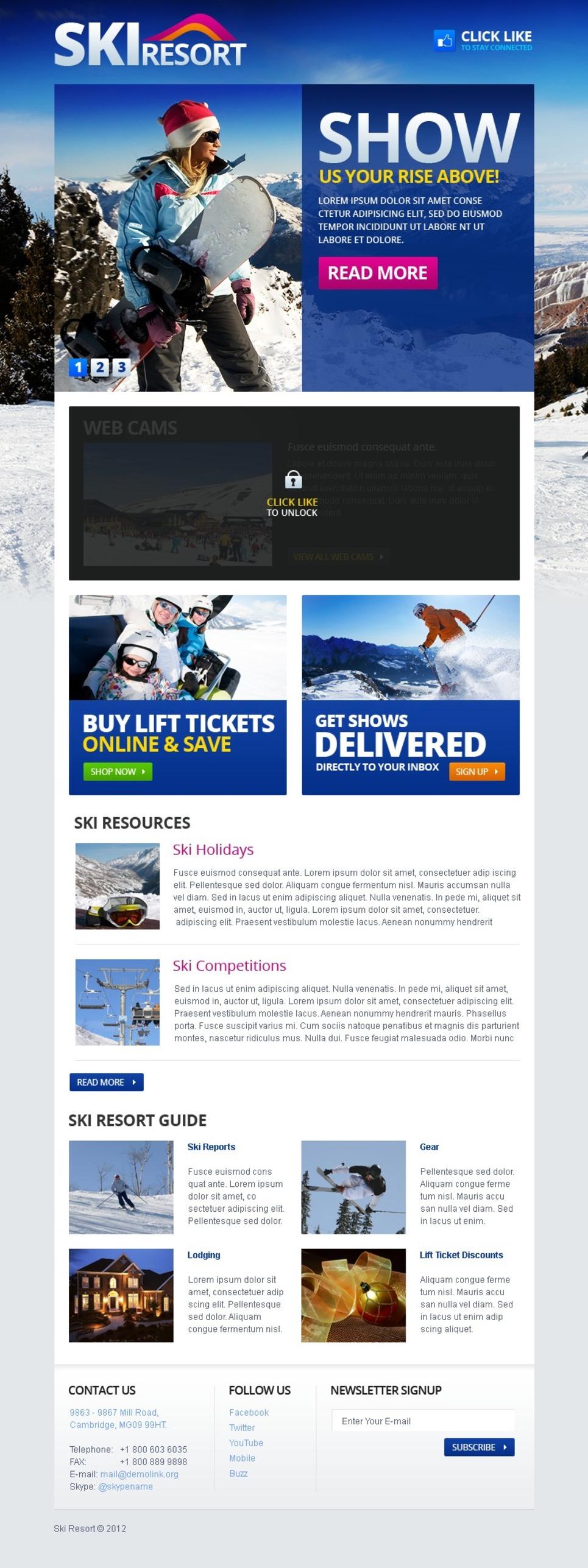 Skiing Facebook Template New Screenshots BIG