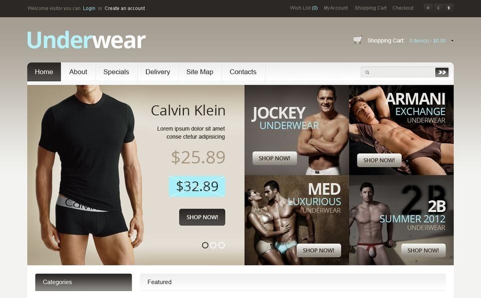 Men's Underwear OpenCart Template New Screenshots BIG