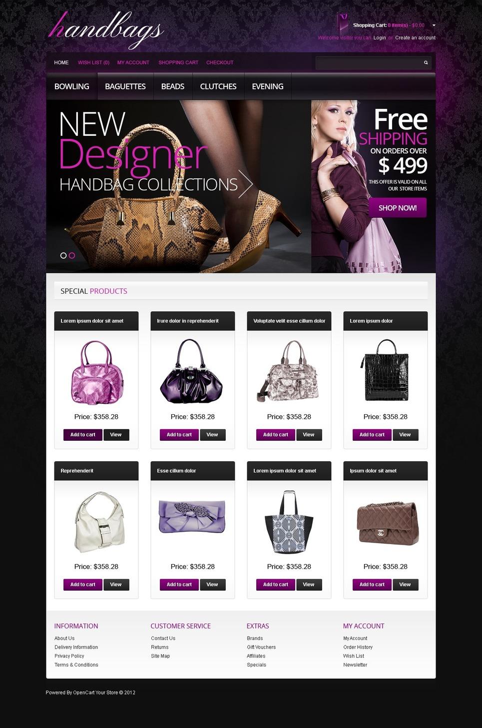 Designer's Handbags OpenCart Template New Screenshots BIG