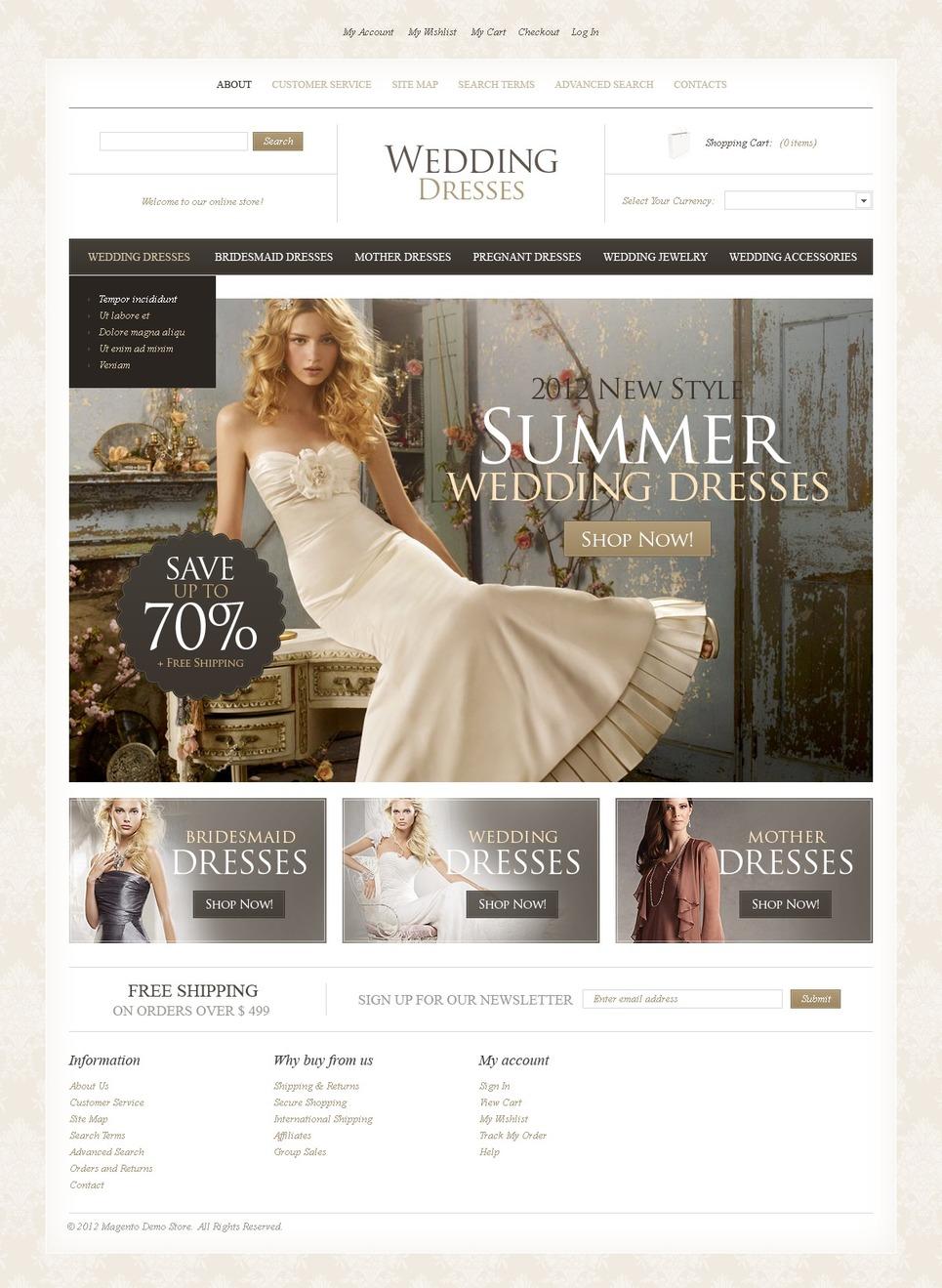 Wedding Dresses Magento Theme New Screenshots BIG