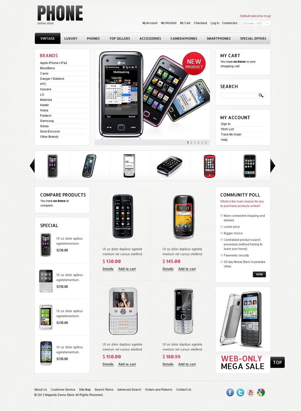 Mobile Phones Magento Theme New Screenshots BIG