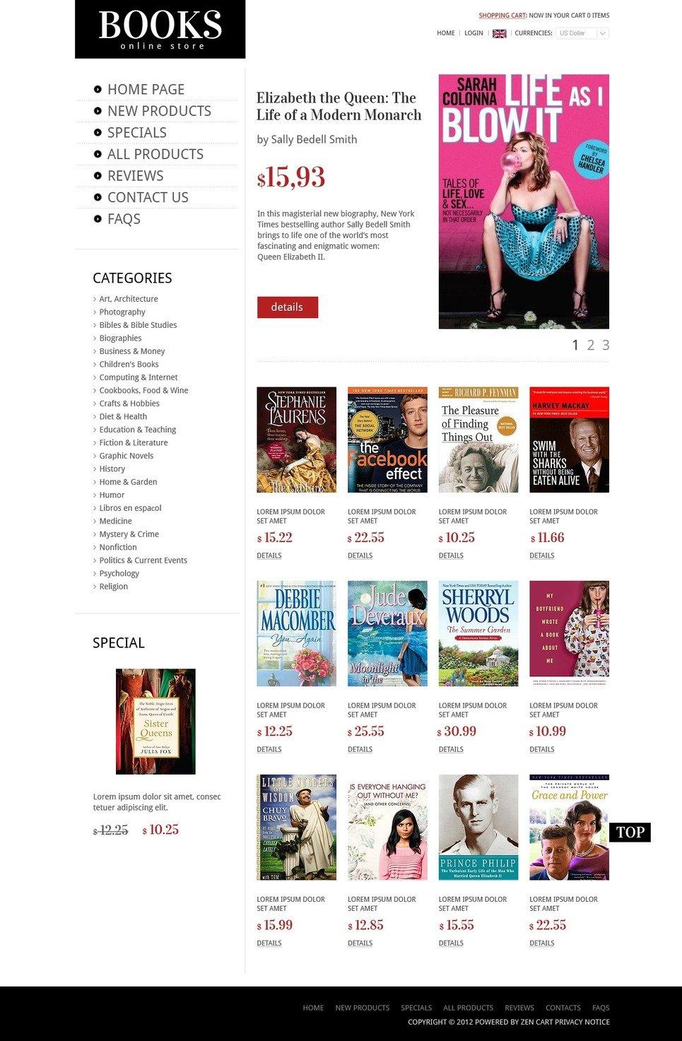 Books & Magazines ZenCart Template New Screenshots BIG