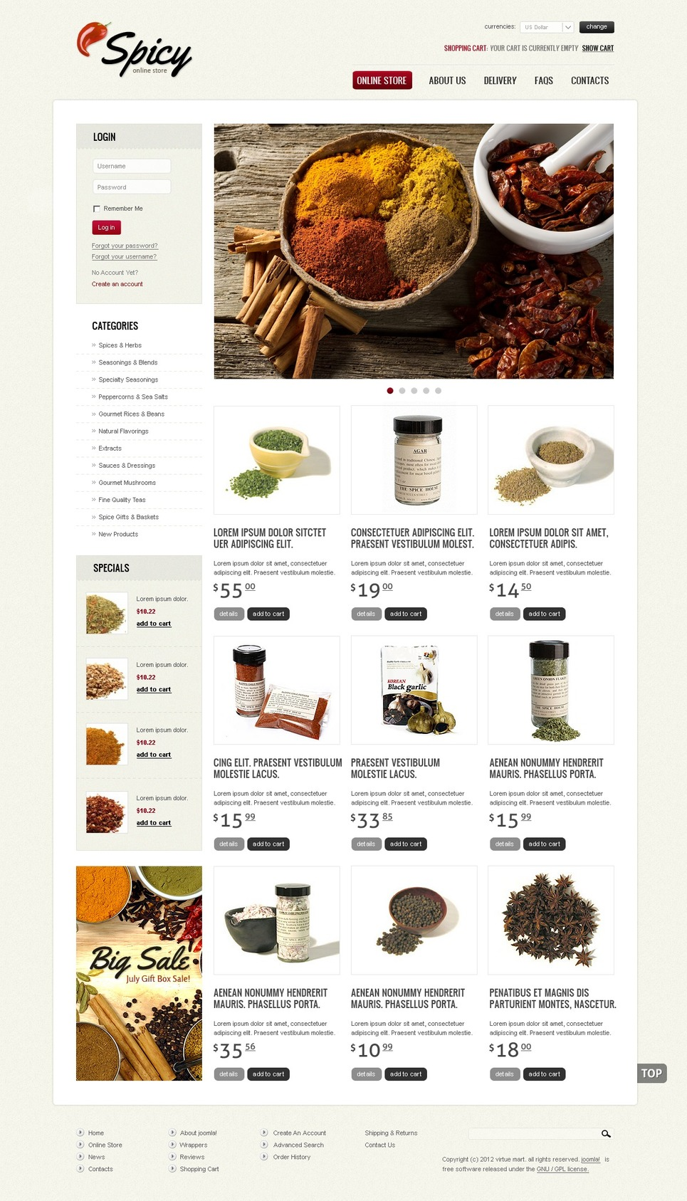 Spices from Overseas VirtueMart Template New Screenshots BIG