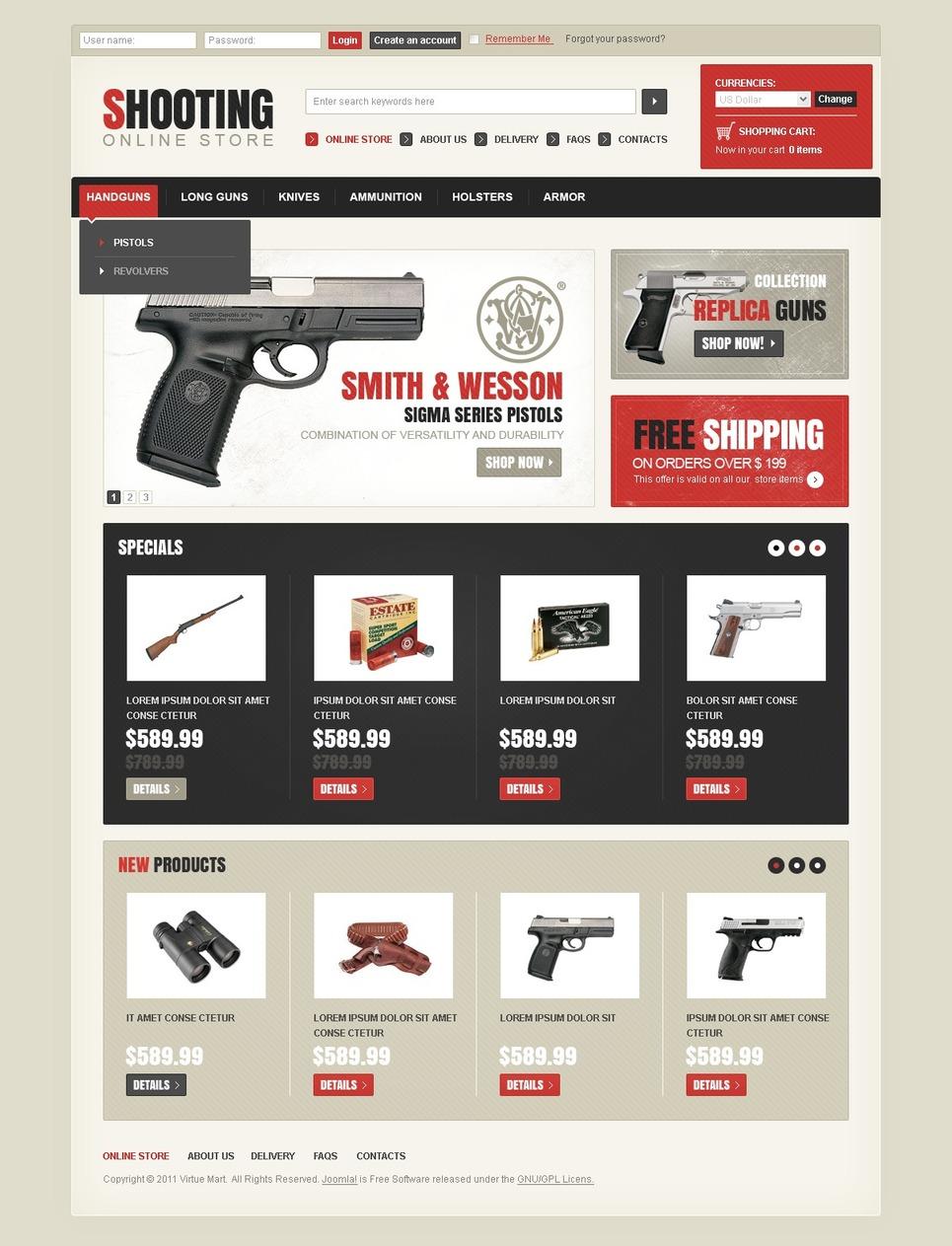 Shooting Store VirtueMart Template New Screenshots BIG
