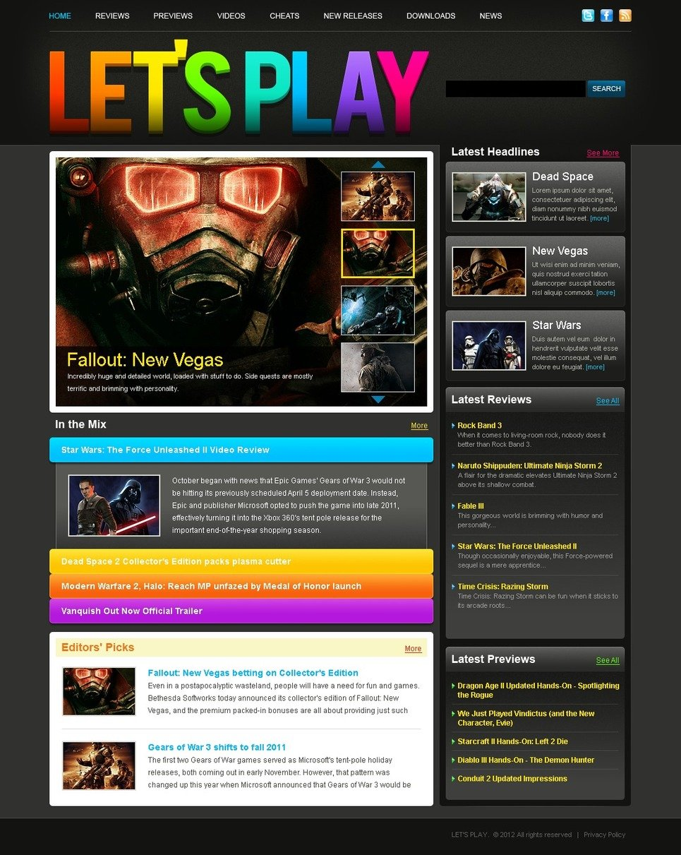 Games Website Template New Screenshots BIG