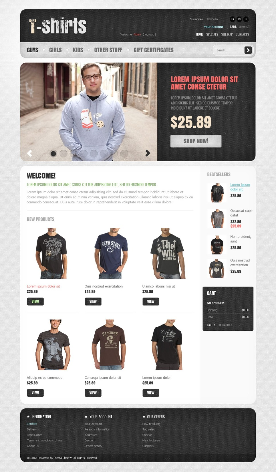 T-Shirts for Guys & Girls PrestaShop Theme New Screenshots BIG