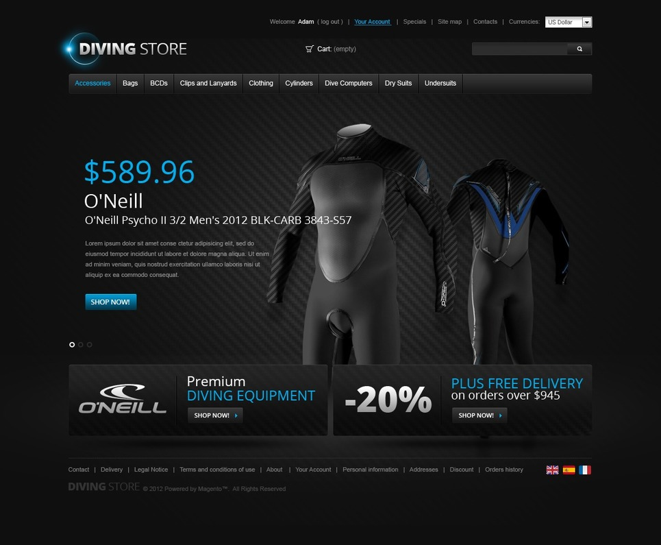 Deepest Diving Magento Theme New Screenshots BIG