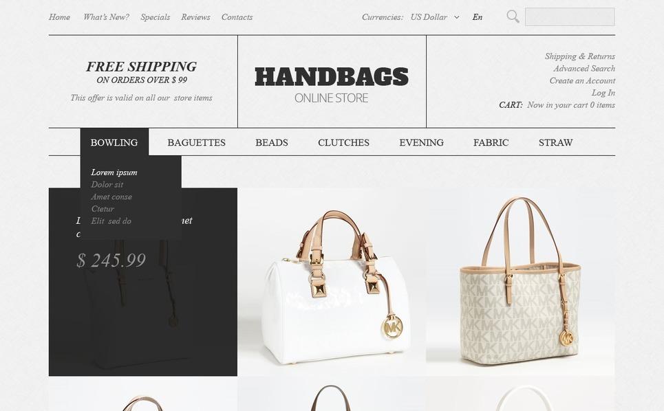 Handbags OsCommerce Template New Screenshots BIG