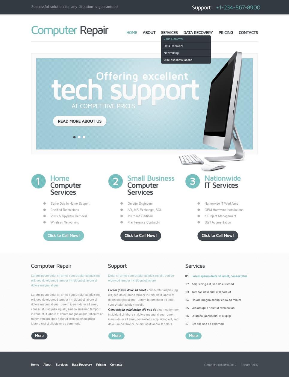 Computer Repair Responsive Website Template New Screenshots BIG