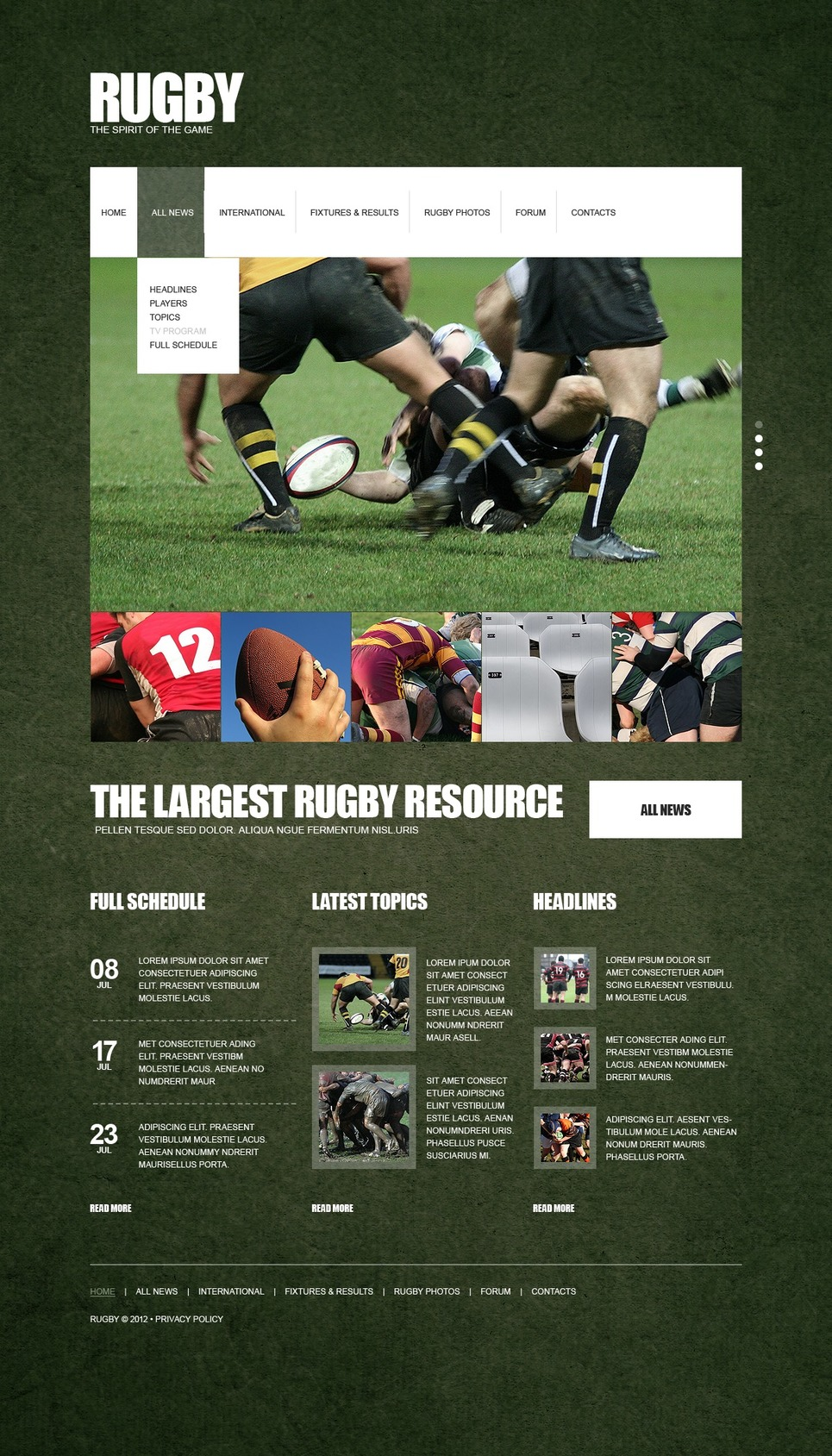 Rugby Website Template New Screenshots BIG