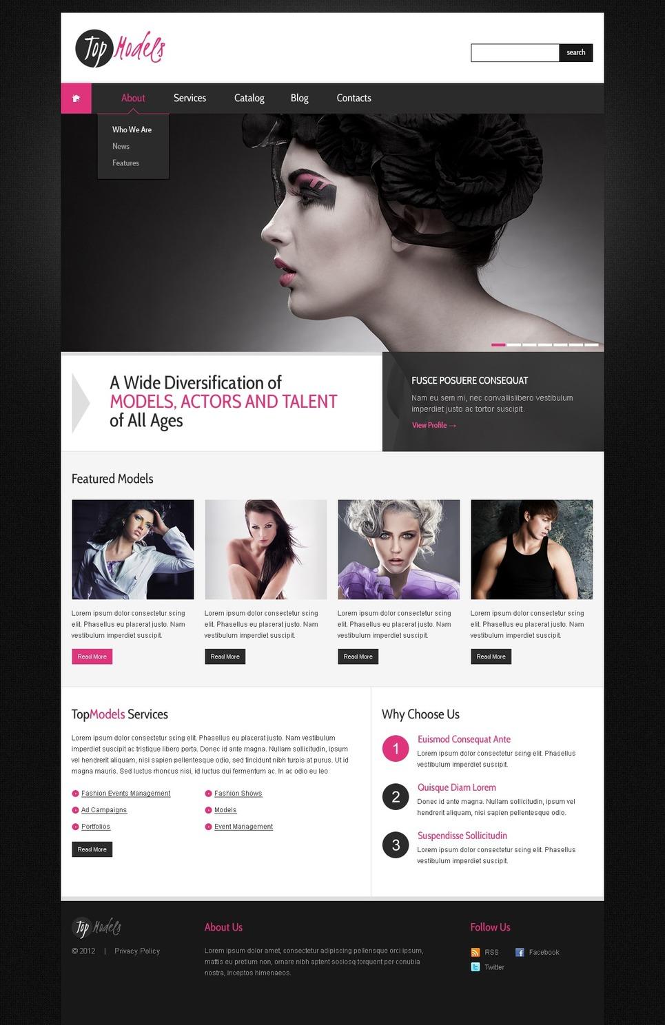 Model Agency WordPress Theme New Screenshots BIG