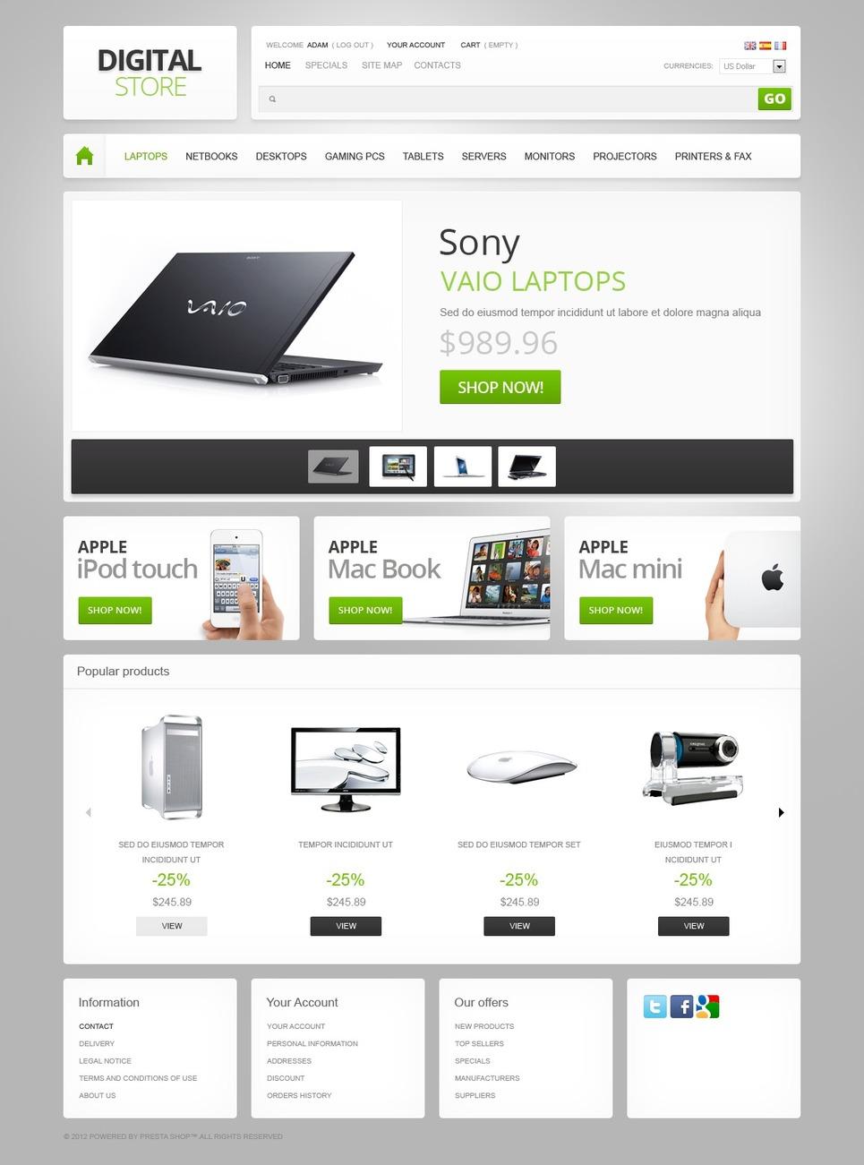 Digital Store PrestaShop Theme New Screenshots BIG