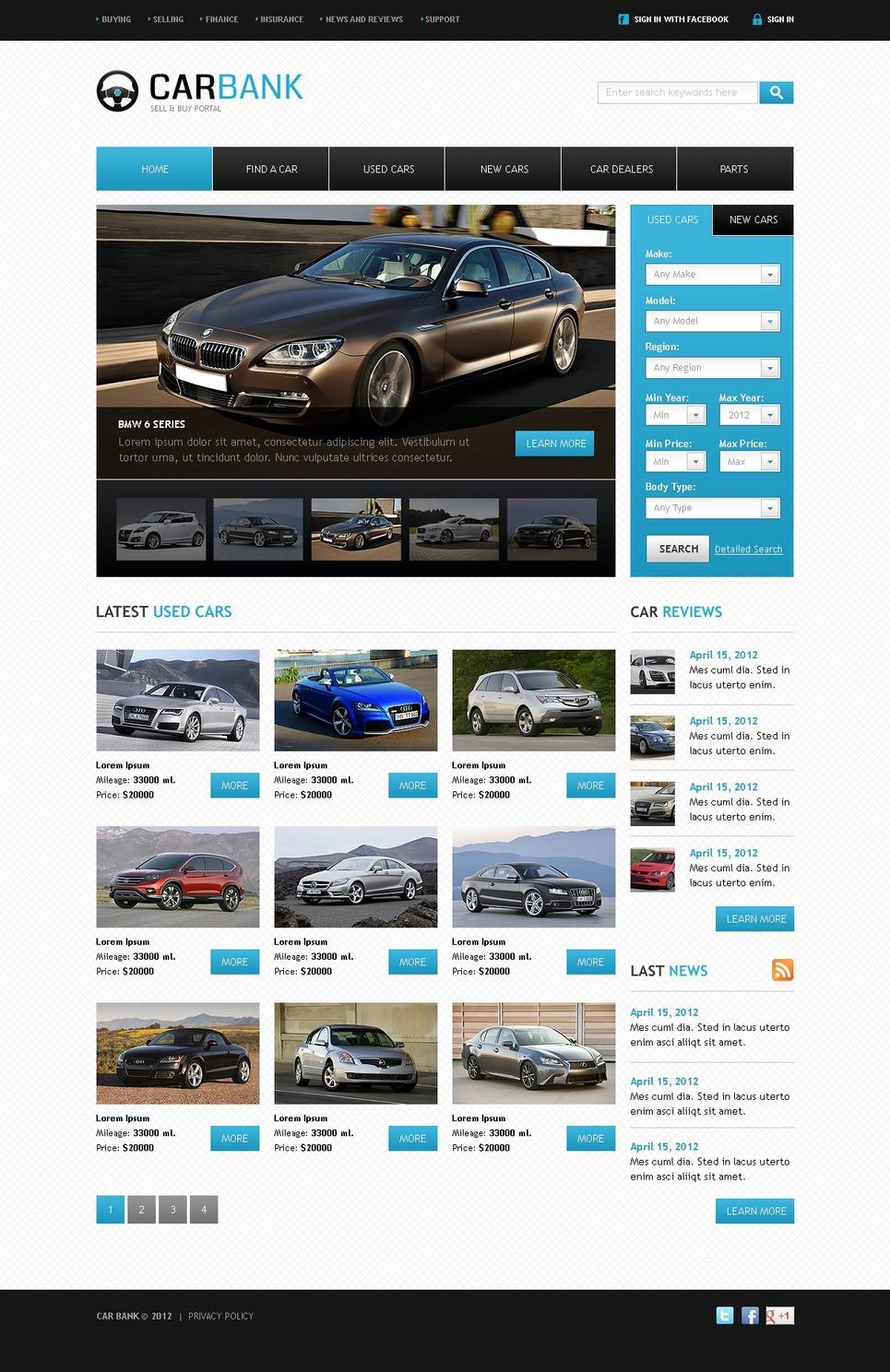 car dealer website template 39299. Black Bedroom Furniture Sets. Home Design Ideas