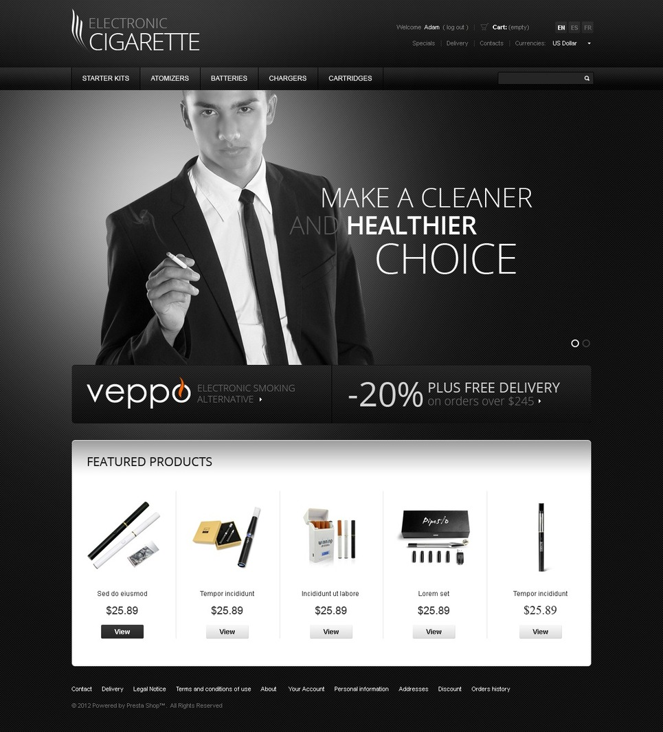 Healthy Smoking PrestaShop Theme New Screenshots BIG