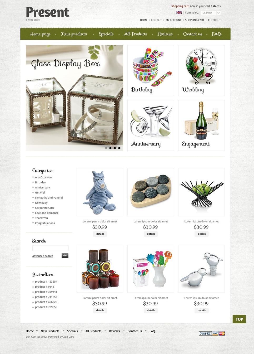 Presents ZenCart Template New Screenshots BIG