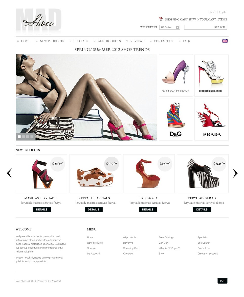 Shoe Store ZenCart Template New Screenshots BIG