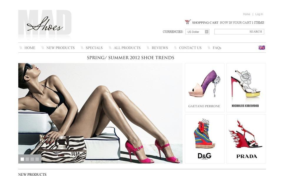 Shoe Store ZenCart Template New Screenshots BIG