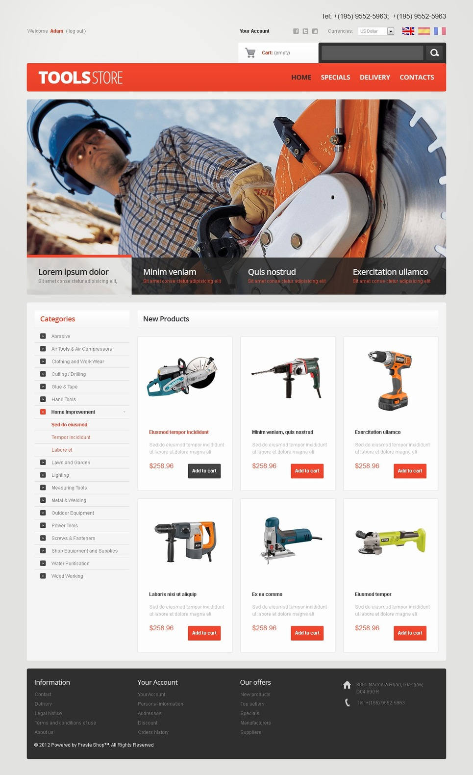 Tools Online PrestaShop Theme New Screenshots BIG