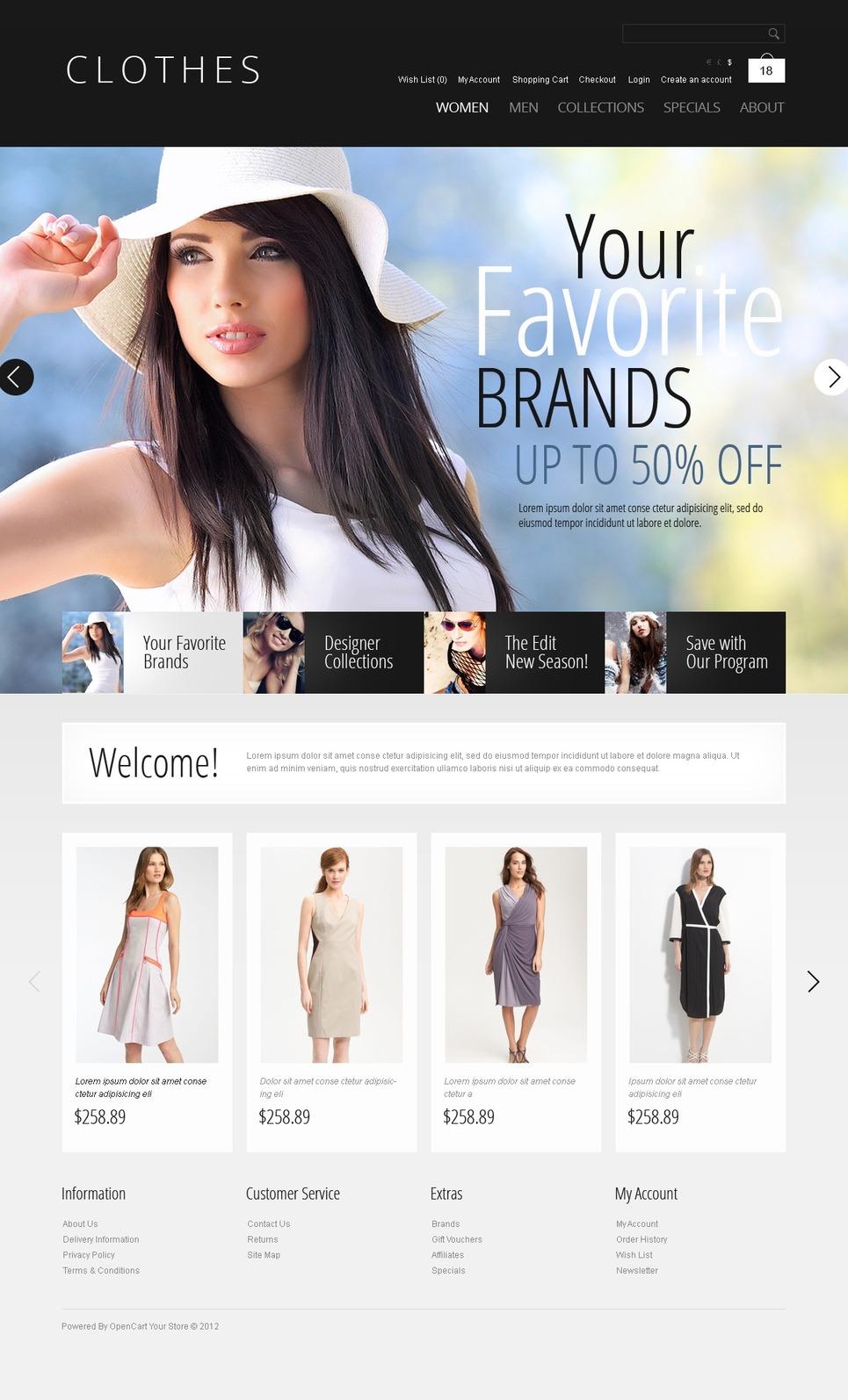 Brand Clothes OpenCart Template New Screenshots BIG
