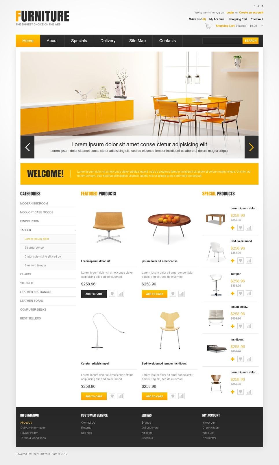 Modern Furniture OpenCart Template New Screenshots BIG